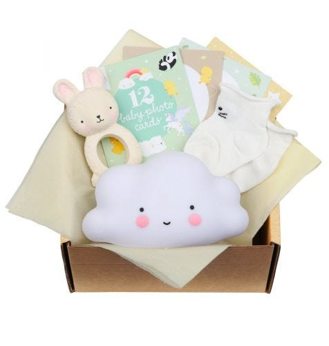 Baby gift box with Teething toy bunny, Little light: cloud - white, 12 double-sided Baby photo cards, baby socks (0-3 months)
