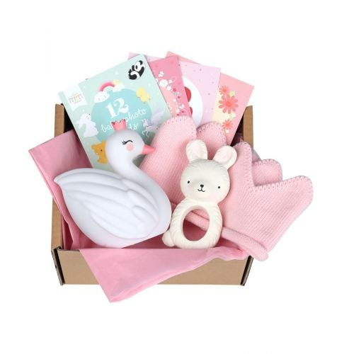 Baby gift box with Teething toy bunny, Little light: Swan, 12 double-sided Baby photo cards, baby hat (0-3 months)